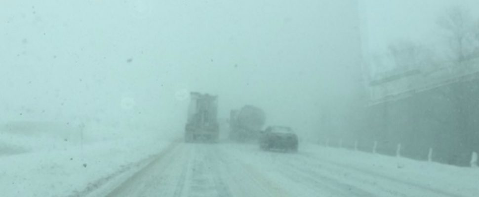 Snow squalls and whiteout conditions on Hwy. 402 near Strathroy, January 4, 2018. Submitted photo.
