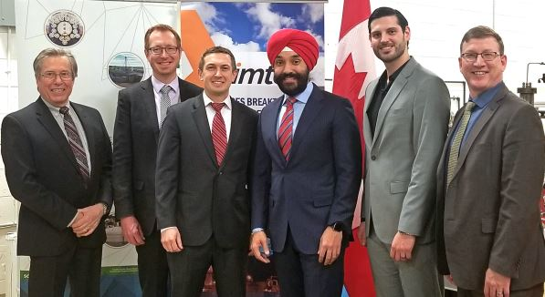 Sarnia-Lambton Economic Partnership CEO, Stephen Thompson, and Senior Economic Development Officer, Matthew Slotwinski, pose for a photo with President of Imtex, Karlis Vasarais, and Minister of Innovation, Science, and Economic Development, Navdeep Bains, at the Imtex Headquarters in Mississauga. Feb. 1, 2019. Pictured (left-to-right) are: Wayne Maddever (Bioindustrial Innovation Canada), Stephen Thompson, Karlis Vasarais, Minister Bains, Matthew Slotwinski, and Tim Knapp. Submitted photo.