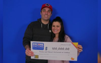 Jessica and Stewart McDiarmid of Chatham won $100,000 with ENCORE on a December 21, 2018, LOTTO MAX draw. (February 19, 2019. (Photo courtesy of OLG)