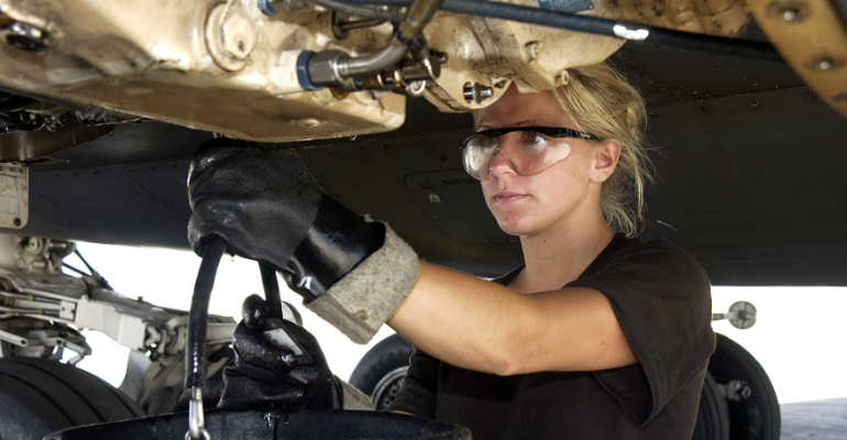 Mechanic performs maintenance on an aircraft. March 2003. (Photo by the US Air Force)