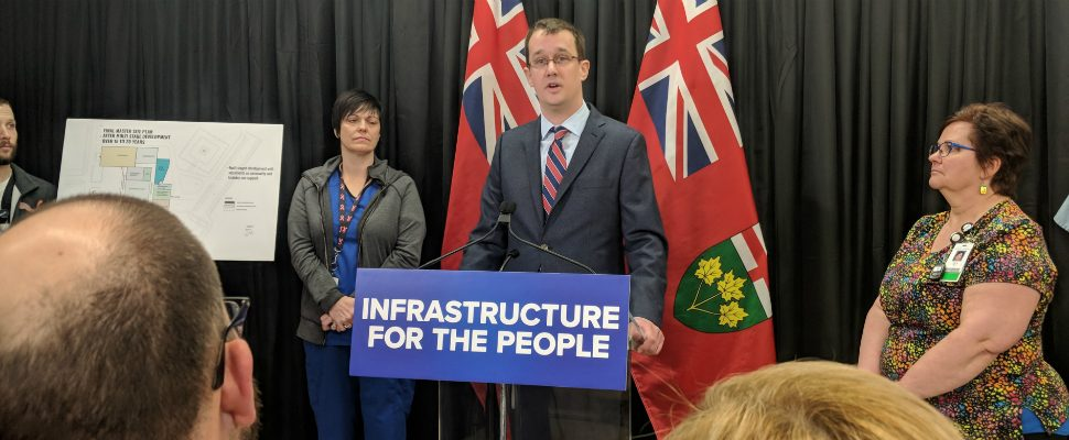 Provincial Minister of Infrastructure Monte McNaughton addresses a crowd at CHKA Wallaceburg site to announce a $500,000 grant to upgrade the facility. February 22, 2019. (Photo by Greg Higgins)