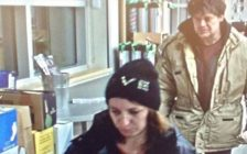 A photo of a man and woman suspected of theft at a LaSalle LCBO courtesy of the LaSalle Police Service.