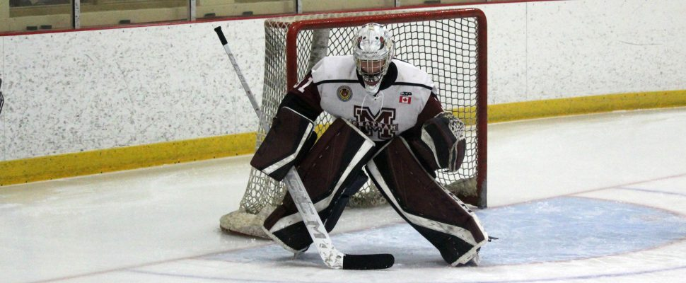 Chatham Maroons goaltender Adam Harris. February 2019. (Photo by Matt Weverink)
