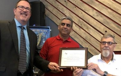 Mayor Darrin Canniff, Macs operator Naveed Pasha and Rick LaMarsh at the Accessibility Awards in Chatham on February 19, 2019. (Photo by Allanah Wills)
