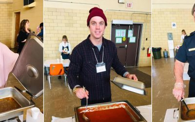 Volunteers serve soup at the inaugural Soup's On fundraiser for Chatham Hope Haven at the Spirit and Life Centre in Chatham. February 18, 2019. (Photo courtesy of Knights of Columbus Our Lady of Beauraing Council 1412 via Facebook)