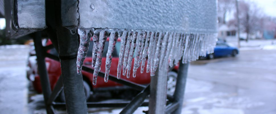 Ice buildup after freezing rain. (Photo by Matt Weverink)