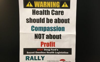 The Ontario Health Coalition (OHC) is warning the province's new omnibus health care bill will mean lost local services. Mar 22, 2019. (Photo by Paul Pedro)
