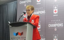 Curling Canada board governor Donna Krotz announces London will host the 2020 Continental Cup of Curling at the Western Fair District Sports Centre, March 28, 2019. (Photo by Miranda Chant, Blackburn News)