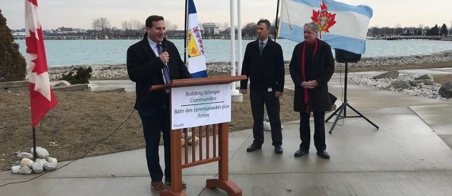 (Left to right) Parliamentary Secretary to the Minister of Infrastructure and Communities Marco Mendicino, is joined by Sarnia's Director of Engineering Mike Berkvens and Mayor Mike Bradley as he announces $10.4 million to protect Sarnia from flooding. March 28, 2019 (Photo by Melanie Irwin)