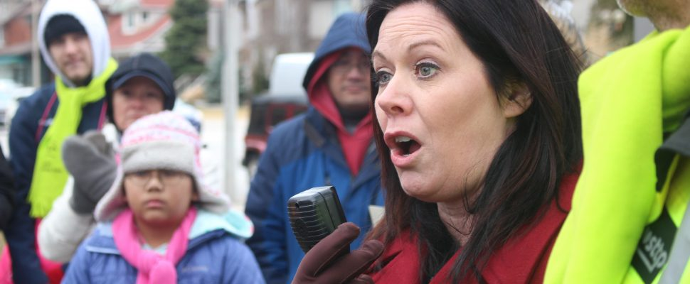 Windsor West MPP Lisa Gretzky speaks at a rally supporting striking public health nurses in Windsor, March 15, 2019. (Photo by Mark Brown/Blackburn News.)