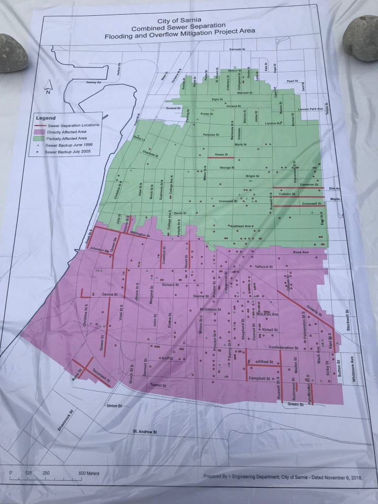 Pink areas of this map will be directly affected by funding announced March 28, 2019, to help alleviate basement flooding.