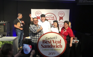 Lambton culinary students Clarisse Gibbons and Jacob Douglas winning the Veal Farmers of Ontario Best Veal Sandwich award. February 25, 2019. (Photo by Alastair Mackay)