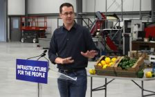 Minister of Infrastructure Monte McNaughton announces the provinces plans to expand natural gas access in rural Ontario at Cedarline Greenhouses in Dresden. March 10, 2019. (Photo by Greg Higgins)
