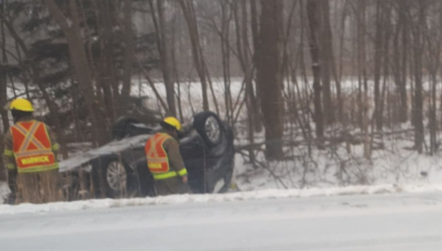 A rollover on the 402 near Forest Road. March 5, 2019. (BlackburnNews photo)