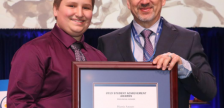 LCCVI student Harris Annett accepting a 2019 OSSTF/FEESO Student Achievement Award from President Harvey Bischof. March 2019. (Photo by Ontario Secondary School Teachers' Federation)