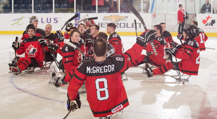 Forest native Tyler McGregor and Canada's National Para Hockey Team. (Photo by Canada's National Para Hockey Team)