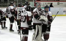 The Chatham Maroons after being eliminated by the Komoka Kings in the first round of the 2018-2019 GOJHL playoffs. (Photo by Matt Weverink)The Chatham Maroons after being eliminated by the Komoka Kings in the first round of the 2018-2019 GOJHL playoffs. March 7, 2019. (Photo by Matt Weverink)