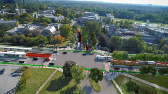 Artist rendering of rapid transit north connection on Western Rd. at Lambton Dr. Rendering courtesy of the City of London.