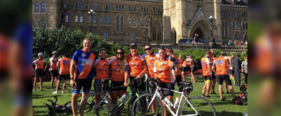 Chatham-Kent EMS workers during the 2018 Paramedic Ride at Parliament Hill in Ottawa (Photo via CK EMS Twitter)