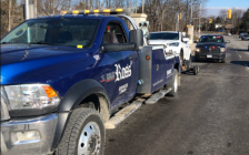 A vehicle clocked doing more than double the speed limit on Western Road is towed from the scene, March 18, 2019. Photo courtesy of London police.
