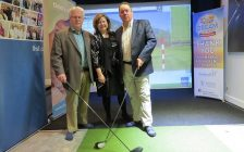 Chair of London Health Sciences Foundation Ron Mikula, President and CEO of St. Joseph's Health Care Foundation Michelle Campbell, and President and CEO, Children's Health Foundation Scott Fortnum stand in the golf simulator at the Dream Home at 2162 Ironwood Rd., April 18, 2019. (Photo by Miranda Chant, Blackburn News)