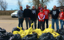 Erieau residents and United Way Chatham-Kent volunteers during a shore cleanup in Erieau on Monday, April 22, 2019. (Photo via United Way CK Twitter)