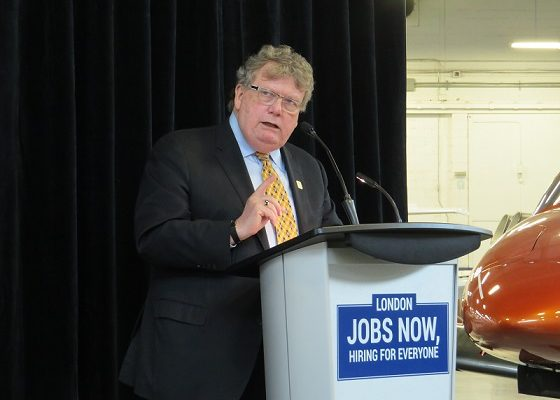 Mayor Ed Holder announces the London Jobs Now task force at Diamond Aircraft , April 12, 2019. (Photo by Miranda Chant, Blackburn News)