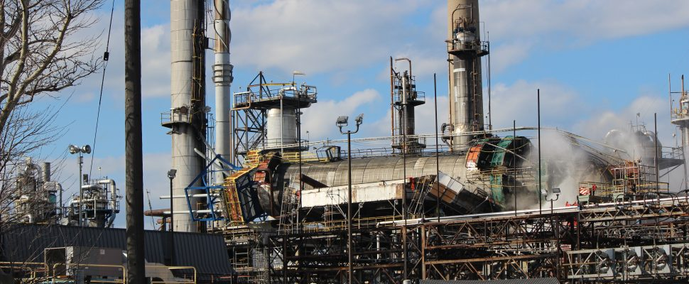 A collapsed fuel processing tower at Sarnia Imperial refinery Apr. 3, 2019 (BlackburnNews.com photo by Dave Dentinger)