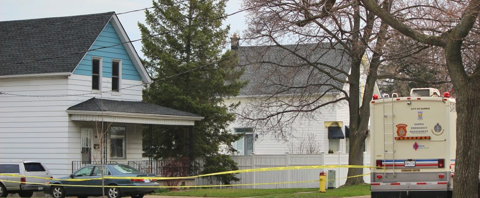 Sarnia police tape off an area on Maxwell Street near St. Vincent Street following an altercation between two males. April 18. 2019. (Photo by Dave Dentinger, BlackburnNews)