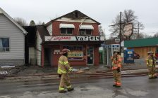 A convenience store with living space above was damaged by fire on April 18, 2019. Photo by Scott Kitching.