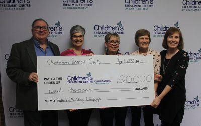 The Rotary Club Of Chatham presents The Children's Treatment Centre of Chatham-Kent with a cheque on Tuesday April 23, 2019. (Photo by Allanah Wills)