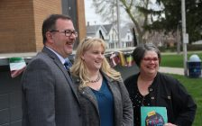 Mayor Darrin Canniff, left, Tracy Callaghan and Dava Robichaud announce Loverboy as the headlining act for the Festival of Nations in June. (Photo by Michael Hugall)