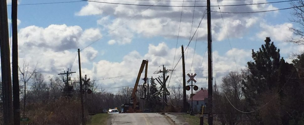 The Ontario Provincial Police (OPP) have charged a Windsor man after a hydro pole was severed in Lakeshore. Apr 15, 2019. (Photo courtesy of OPP)
