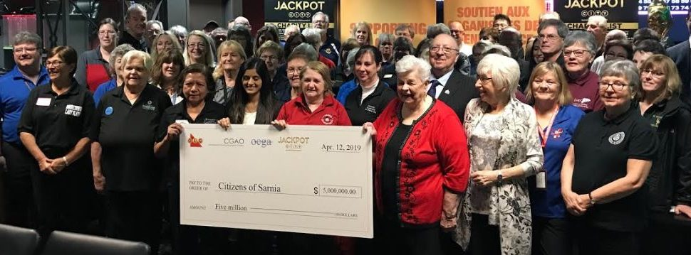 Volunteers from local charities celebrate fundraising milestone at Sarnia's Jackpot City. April 12, 2019 Photo by Melanie Irwin