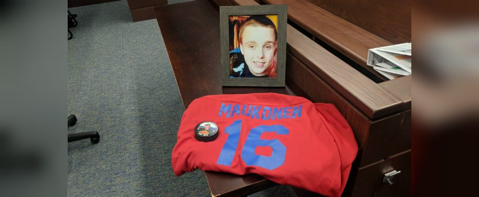 Michael Maukonen's family set up a tribute to him in court. According to members they hold a tribute hockey tournament each year in his honour. April 8, 2019. (Photo by Greg Higgins)
