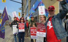 Members and supporters of the London and District Labour Council rally outside of the local Ontario Ministries of Labour and Education at 217 York Street, April 17, 2019. (Photo by Miranda Chant, Blackburn News)