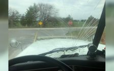 Stephen Haines said the windshield of the hydrovac truck he was driving was smashed by a banana that was thrown by someone on a school bus on Bear Line Road Tuesday afternoon. April 16, 2019. (Submitted photo)