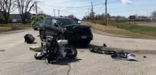 A crash involving a vehicle and a motorcycle on April 8 on County Road 42 in Tecumseh. (Photo courtesy of the Ontario Provincial Police)