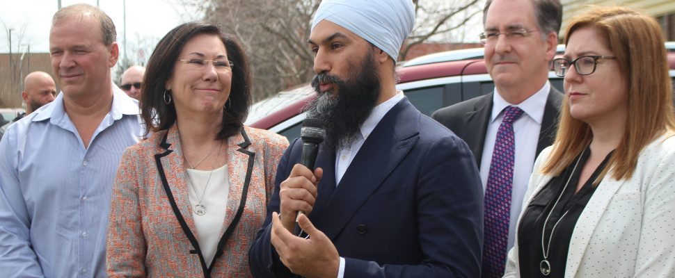 Federal NDP leader Jagmeet Singh speaks to a crowd at the Unifor Local 444 Hall in Windsor on Saturday, April 13, 2019. (Photo by Allanah Wills)