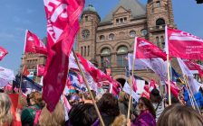 Rally at Queen's Park on Saturday April 6, 2019. (Photo via CUPE Ontario Facebook)