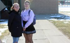 Emma Kathleen (left) and Zoë Boonstra (right) are organizing the student walkout at Chatham-Kent Secondary School Thursday to protest provincial changes to the education system. April 1, 2019. (Photo by Greg Higgins)