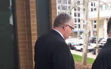 Former Kingsville Fire Chief Robert Kissner, left, leaves court on April 16, 2019 after being convicted on nine sex-related charges. Photo by Mark Brown, Blackburn News.