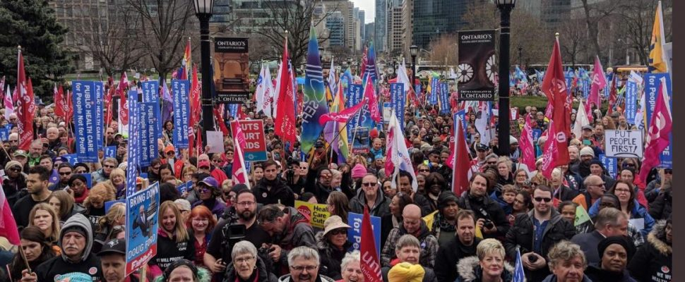 Thousands rally against changes to Ontario's health care system. April 30, 2019 Photo courtesy of @AndreaHorwath Twitter.