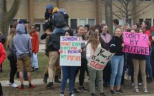 Students walk out of class at Chatham-Kent Secondary in protest of changes being made to education by the Ford government. April 4, 2019. (Photo by Greg Higgins)