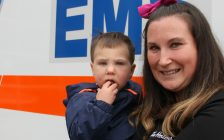Hunter Margeson, also known as the 401 baby, and Lindsay Margeson return to Chatham for the EMS open house and Barbecue on Wednesday. (Photo by Michael Hugall)