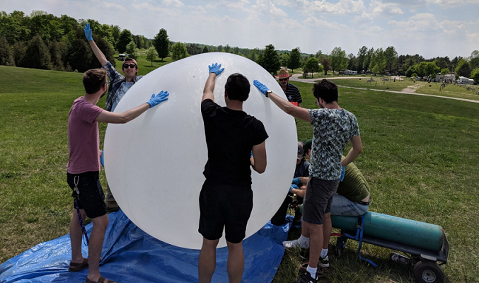 Western's High Altitude Balloon team prepares balloon for launch. Photo courtesy of mediarelations.uwo.ca
