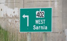 A sign for Hwy. 402 to Sarnia. (Photo by Miranda Chant, Blackburn News)