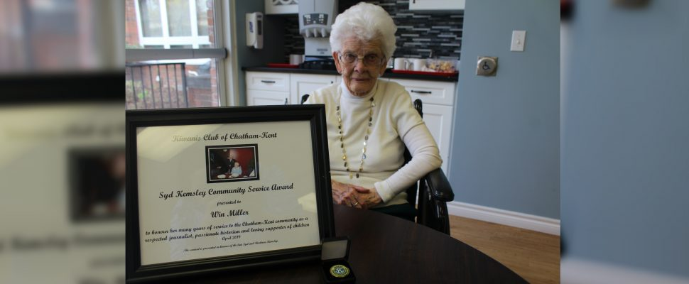 100-year-old Win Miller receives the Syd Kemsley Community Service Award by theKiwanis Club of Chatham-Kent on Wednesday May 8, 2019. (photo by Allanah Wills)
