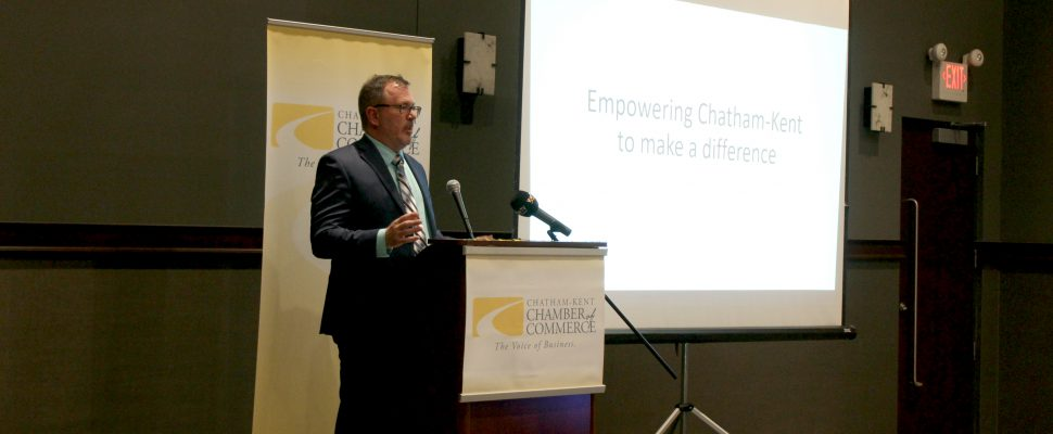 Chatham-Kent Mayor Darrin Canniff speaks at the CK Chamber of Commerce's Annual Municipal Update & Mayor's Address. May 23, 2019. (Photo by Matt Weverink)