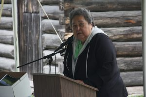 Delaware First Nation Chief, Denise Stonefish addresses dozens of community members at the Fairfield Museum Grounds on Friday. (Photo by Michael Hugall)